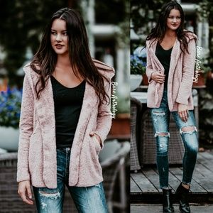 Jackets & Blazers - Mauve Fleece Hoodie Jacket